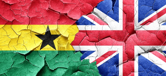 Ghana flag with Great Britain flag